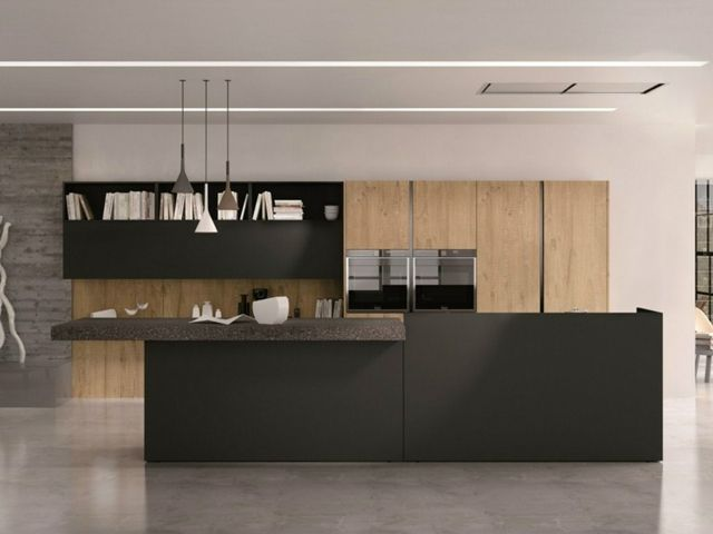 moderne meuble cuisine une idée en bois avec un îlot central