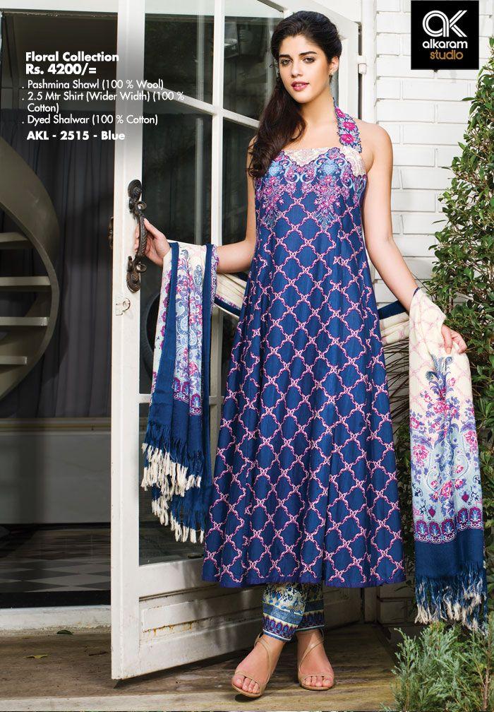 AKL 2515 - Blue  Rs.4200/- Pashmina Shawl (100 % Wool) 2.5 Mtr Shirt (Wider Width) (100 % Cotton) Dyed Shalwar (100 % Cotton)  www.alkaramstudio.com