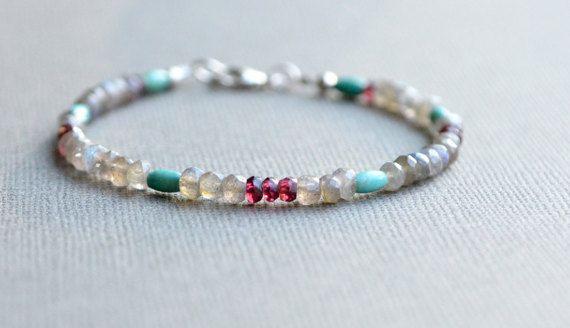 Labradorite Garnet Turquoise Gemstone Bracelet Sundance Style