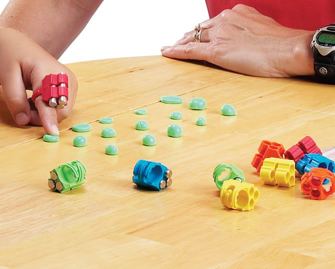 pediatrics finger weights- for keyboarding low tone/low strength, also for finger strengthening and providing kinesthetic and proprioceptive feedback to fingers.