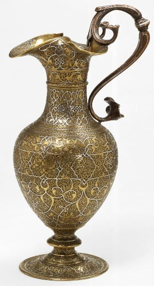 Ewer Unknown maker 1500-1600 Brass, engraved and damascened with silver Museum no. M.31-1946