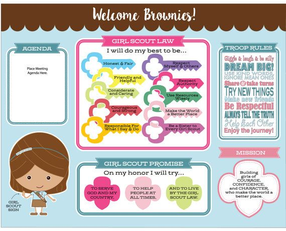 Brownie Girl Scout Promise & Law Meeting Board - Printable Instant Download