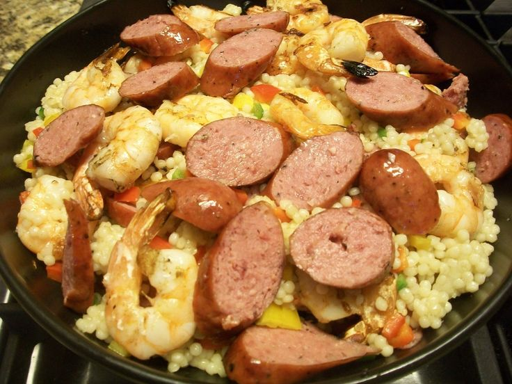 Spicy Shrimp and Kiolbassa Sausage with Couscous | Vote for and share your favorite Kiolbassa Sausage Recipes!