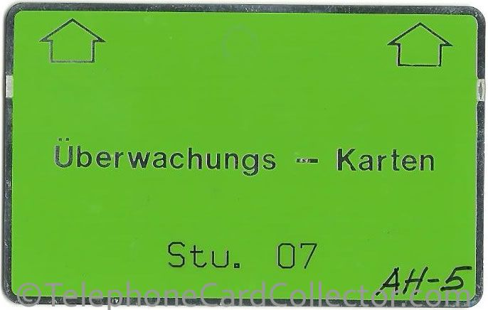 Uberwachungs Karten for Stucture 07 with control AH-5. This card is without a notch.