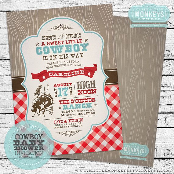 Personalized Vintage Cowboy Baby Shower Party Pack