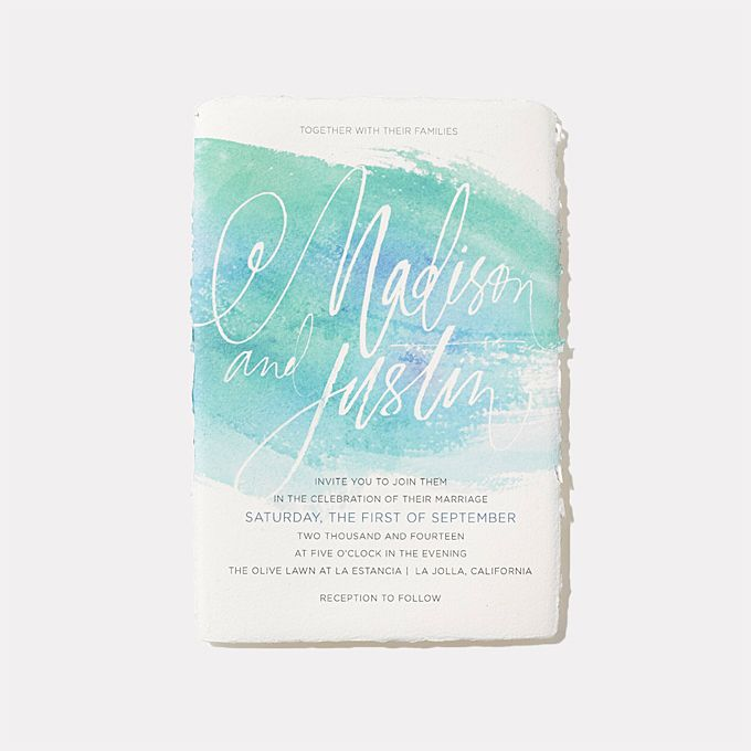 """Brides.com: 25 Creative Wedding Invitations for Every Style of Celebration. A Watercolor Invitation for a Summer Wedding. """"Watercolor Swash Suite,"""" from $1,060 for 100, Julie Song Ink  See more blue wedding invitations."""