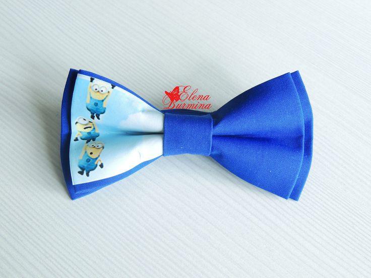 Купить Бабочка галстук с миньонами, хлопок - синий, рисунок, миньон, миньоны, бабочка, бабочка-галстук
