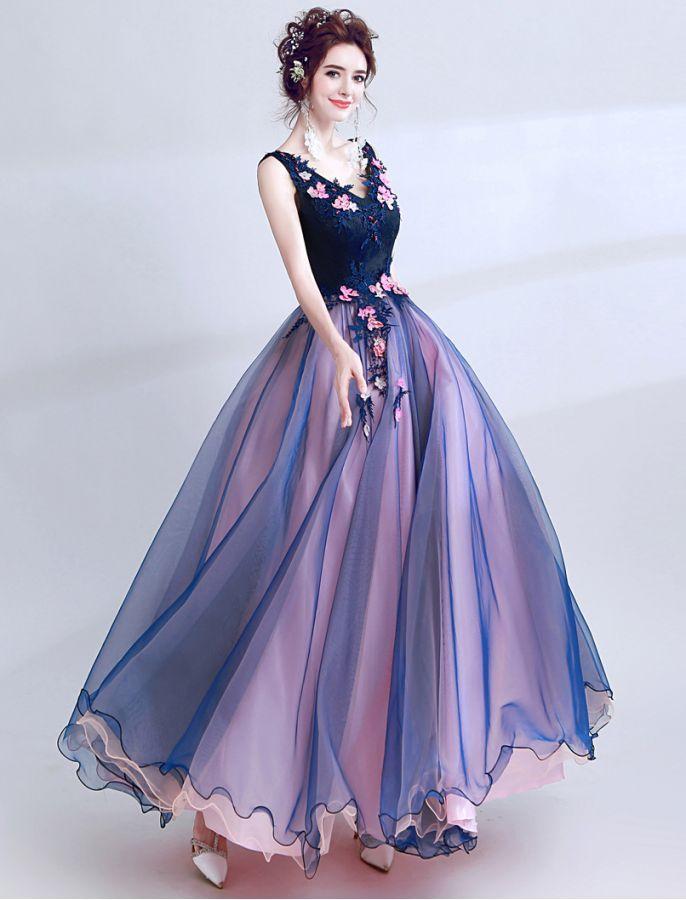 V Neck Floral Lace Colour Block Prom Dress Floral Prom Dresses Floral Prom Dress Long Prom Dresses Long