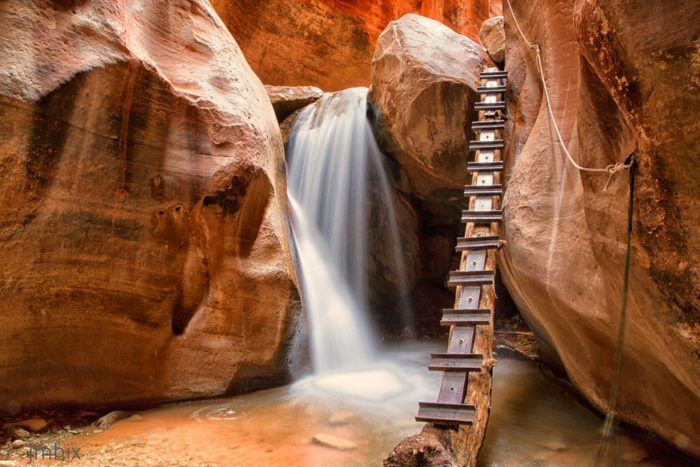 Climb the 12-foot ladder to the top of the fall, but be careful...the rungs can be slippery!