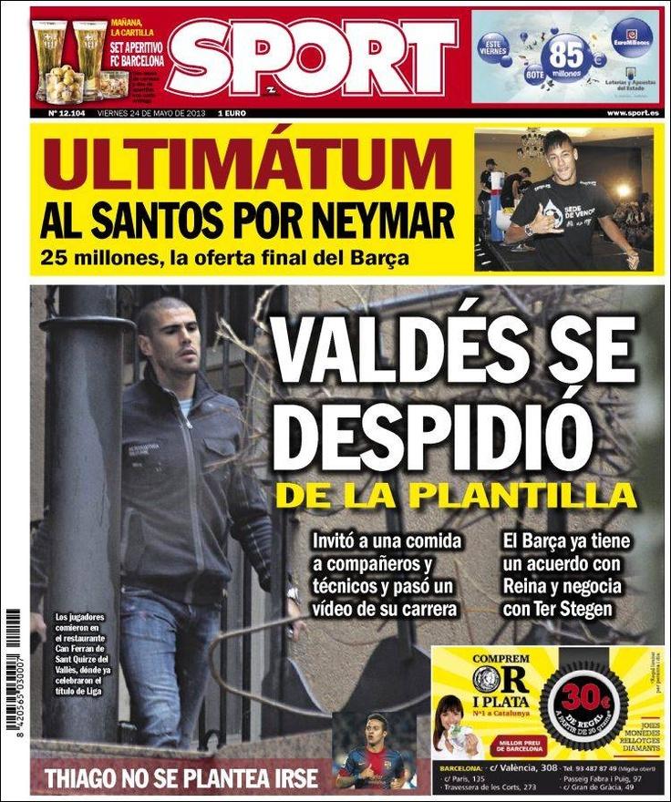 Los Titulares y Portadas de Noticias Destacadas Españolas del 24 de Mayo de 2013 del Diario Deportivo Sport ¿Que le parecio esta Portada de este Diario Español?