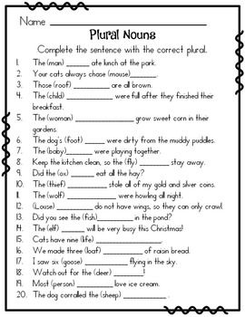 IRREGULAR PLURAL NOUNS TASK CARDS OR WORKSHEETS (ELA ASSESSMENT OR REVIEW) - TeachersPayTeachers.com