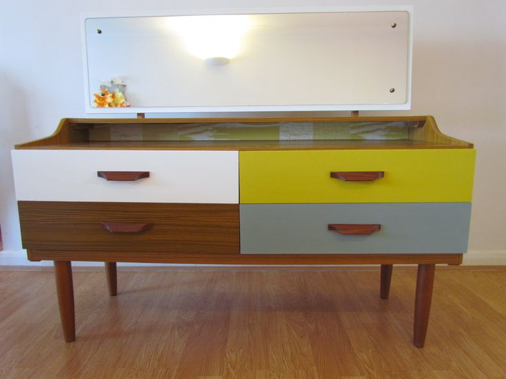 Retro Dressing table painted in Autentico Huile Noix, Yellow Tan and Troubled Water