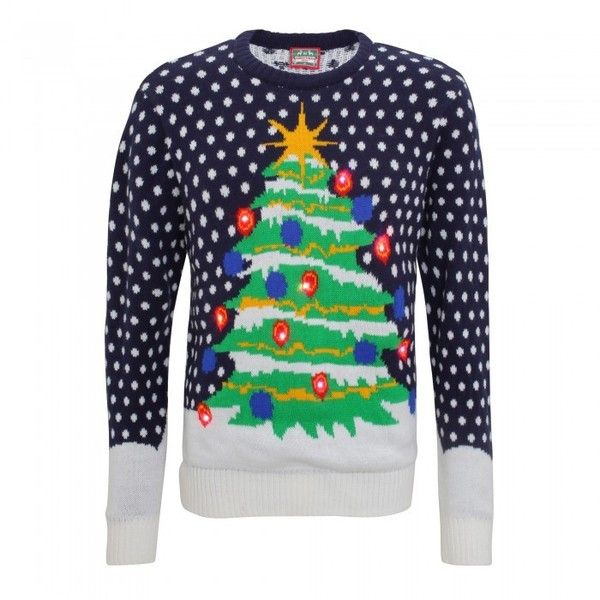 Christmas Shop Mens 3D Light Up Christmas Tree Knitted Jumper ($42) ❤ liked on Polyvore featuring men's fashion, men's clothing, men's sweaters, mens xmas jumpers, mens jumpers, mens christmas sweaters, mens christmas jumpers and mens sweaters