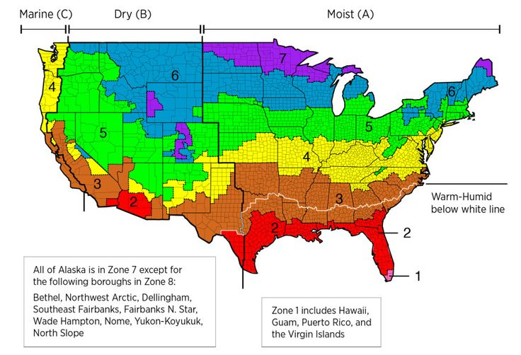 New info on insulation - Climate zones as defined by the 2012 International Energy Conservation Code.