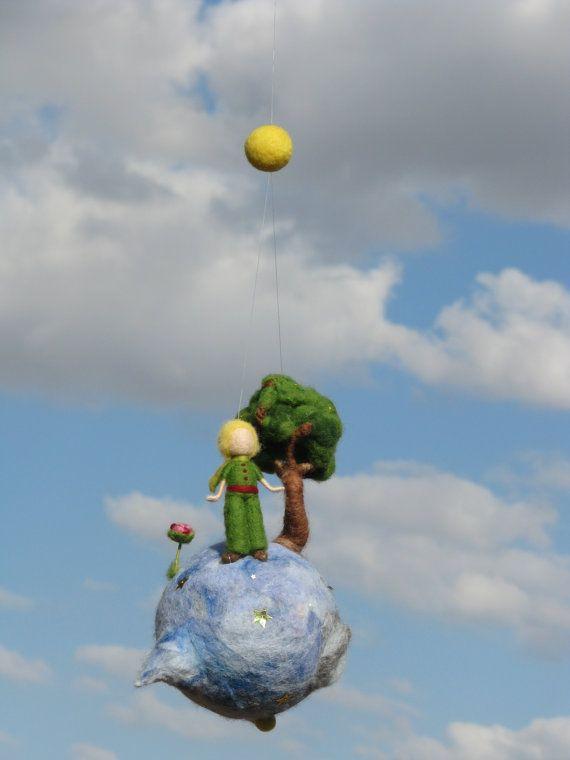 Waldorf inspiriert Nadel Gefilzte kleine Prinz Mobil
