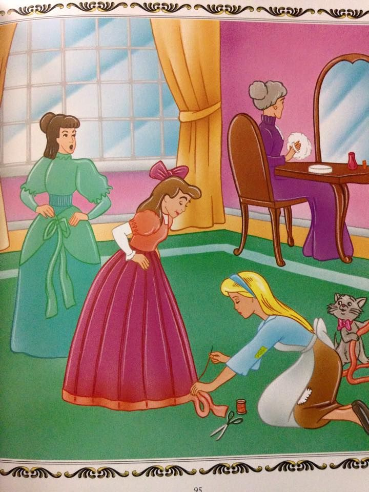 Cinderella helps her Stepsisters to get ready for the ball