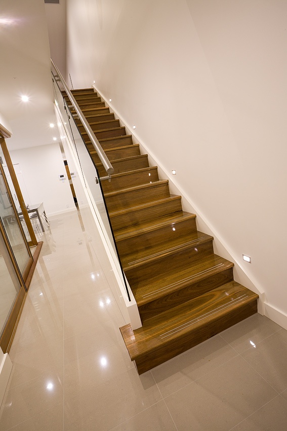 Staircase with glass balustrade, Lightsview Terrace Display Home, open by appointment.