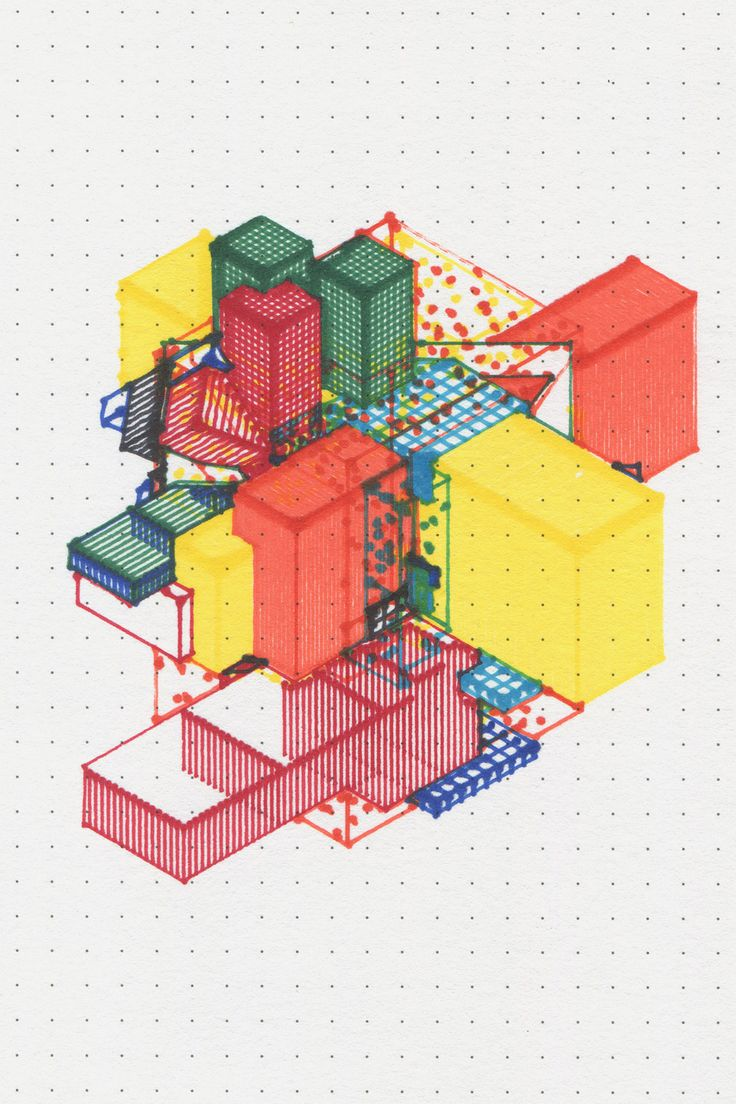 Created by Miguel Nóbrega, Possible, Plausible, Potential is a set of three series of isometric drawings generated by code and printed with colored markers on a plotter machine. In these drawings, Miguel explores a bridge between the iterative aspect of algorithms and the utopian aspect of modern architecture.