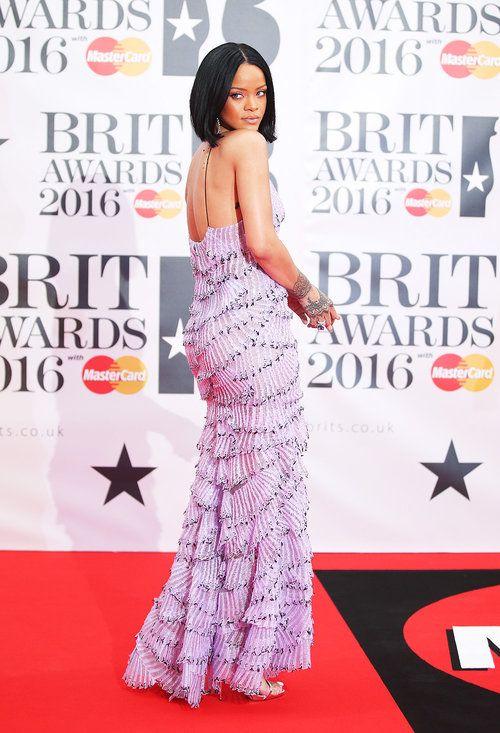 Rihanna. Brit Awards 2016 red carpet on Feb. 24, 2016 in London. BRITs Awards.