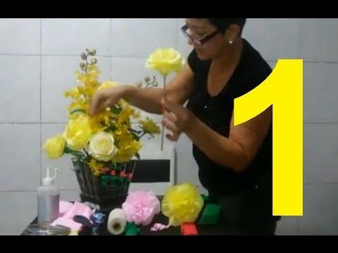 Aula 1 - Como fazer Flores de papel crepom. Por Fatima Fiocchi!
