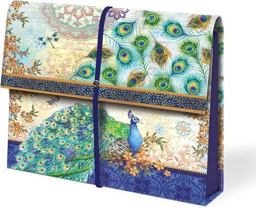 Punch Studio Royal Peacock Expandable Accordion File, New