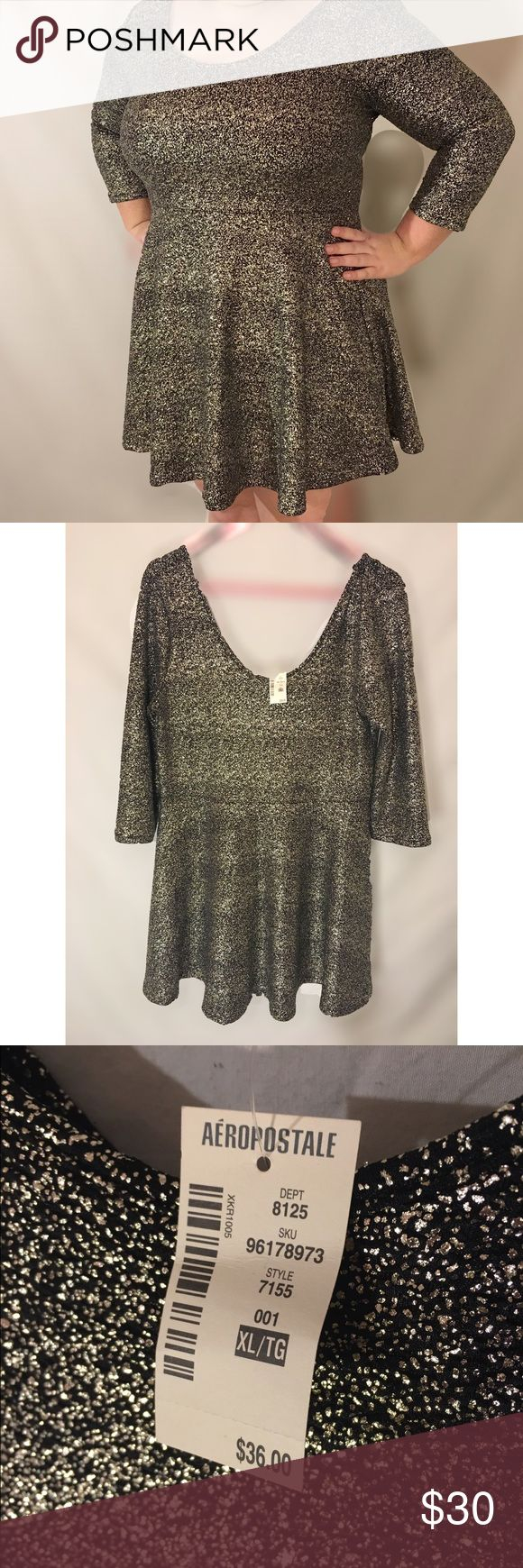 Bethany Mota Aeropostale Metallic Skater Dress XL New with tags. Very stretchy material, Size XL but pictured here on an XXL model. Hits right above the knee. Aeropostale Dresses Mini