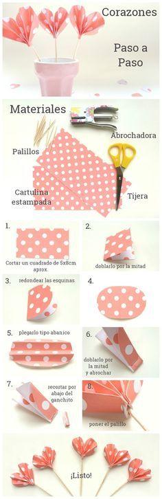 DIY: Paper hearts   corazones de papel