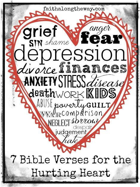 7 Bible Verses for the Hurting Heart: When you are in despair, find comfort in Bible verses for the hurting heart. God is faithful to provide comfort and peace during tough times. http:faithalongtheway.com
