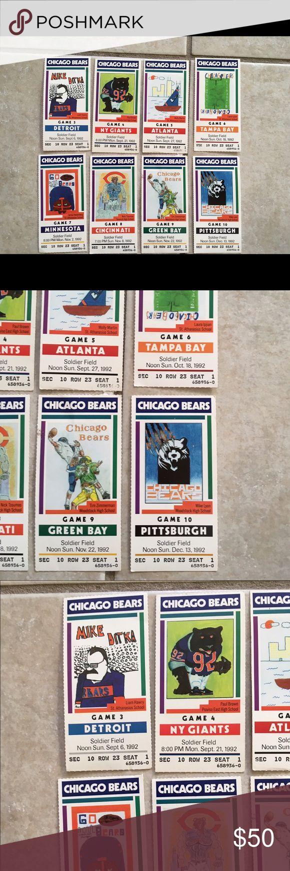 8 classic Chicago Bears 1992 season stubs RARE. 9/6/1992 vs Detroit, MNF 9/21/1992 NY Giants, 9/27/1992 Atlanta, 10/18/1992 Tampa Bay, MNF 11/2/1992 vs Vikings, 11/8/1992 vs Cincinnati, 11/22/1992 vs Green Bay packers, 12/13/1992 vs steelers today only-  Just Reduced to lowest price possible.  You're getting a great Accessories