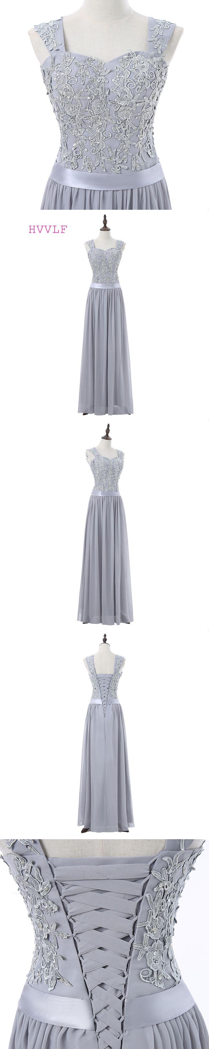 Silver Evening Dresses 2018 A-line Sweetheart Floor Length Chiffon Lace Beaded Robe De Soiree Women Long Evening Gown Prom Dress