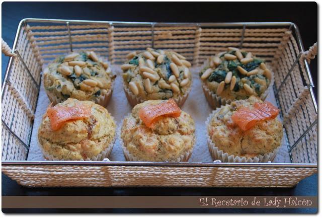 El Recetario de Lady Halcon: Muffins salados de espinacas y salmón