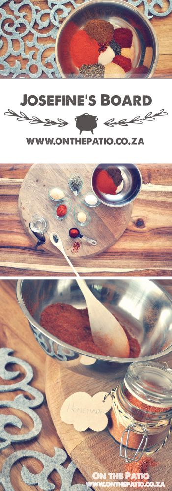 """Home made Taco Spice Mix - 1/2 cup Chili powder, 1/3 cup Cumin, 2 teaspoons Dried Oregano, 2 teaspoons Garlic powder, 1 teaspoon Onion powder, 1 teaspoon Salt, 1 teaspoon Cayenne powder,1/2 teaspoon Black pepper,1/2 teaspoon Chili flakes - Mix in a bowl - """" Perfect as gifts in cute decorated jars """" Recipe from Josefine's Board and www.onthepatio.co.za"""