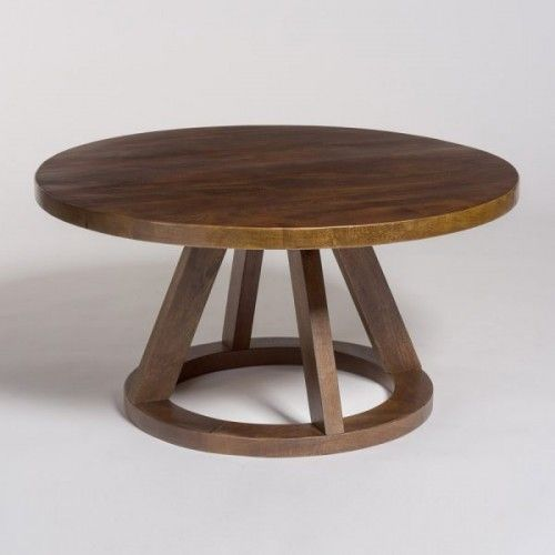 Superior Dark Mango Wood Round Eclectic Coffee Table