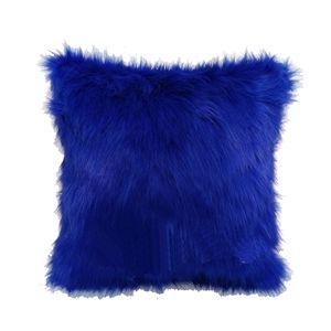 Bleu marine Haute imitation fourrure de renard oreiller de fourrure Coussins de fourrure recto verso