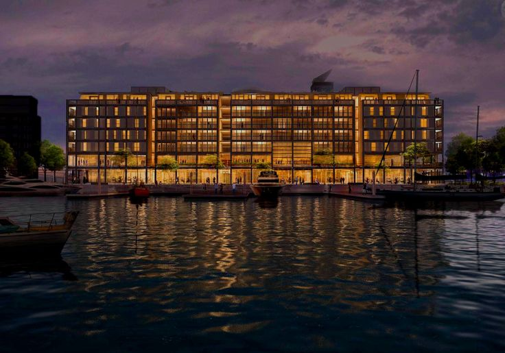 Night view of the new Park Hyatt hotel on Auckland's Viaduct Harbour.