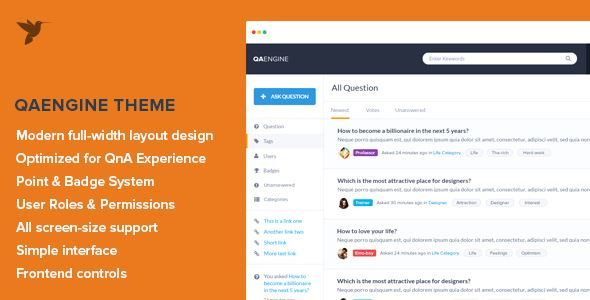 ThemeForest - QAEngine - Question and Answer WordPress Theme  Free Download