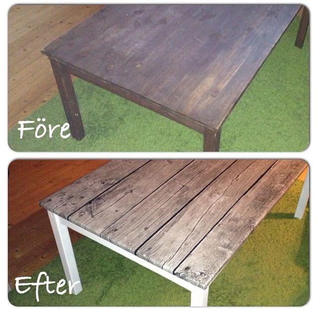 Gammalt bord fick nytt utseende. Vårt gamla vardagsrumsbord, började med att måla bordet vitt sen nitade jag fast vävtyg.