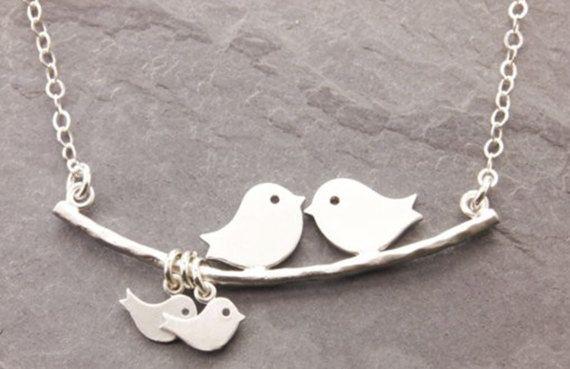 Collar pájaros de amor  Collar pájaro y ramas  por MWdesignCrafts