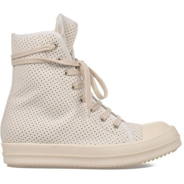 Rick Owens Rick Owens Women's White Polyamide Hi Top Sneakers |... ($542) ❤ liked on Polyvore featuring shoes, sneakers, white, white hi top sneakers, white high top shoes, white high-top sneakers, white high top trainers and rick owens high top