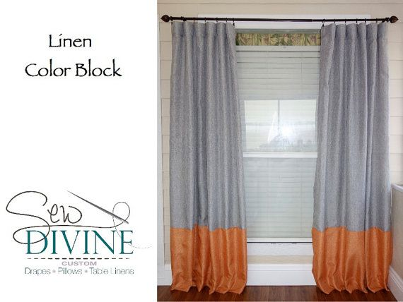 linen color block curtain panels 50 x 96 by