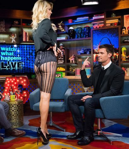 Brandi Glanville's Sheer Striped Skirt & Blouse on Watch What Happens Live | Big Blonde Hair : Big Blonde Hair http://www.bigblondehair.com/reality-tv/brandi-glanvilles-sheer-striped-skirt-blouse/