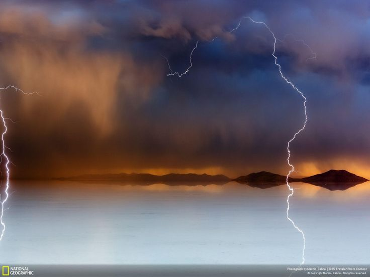 Electric Sunset Photo and caption by Marcio Cabral    Tempest at sunset on Salar de Uyuni, Bolivia.  CATEGORY: Outdoor Scenes LOCATION: Cuadrilla Once, Potosi, Bolivia