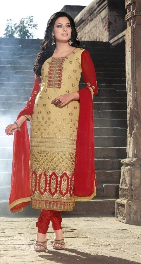 #Beige & Red #Cotton #SalwarKameez With A Chiffon Dupatta #EID #EIDcollection @mokshafashions