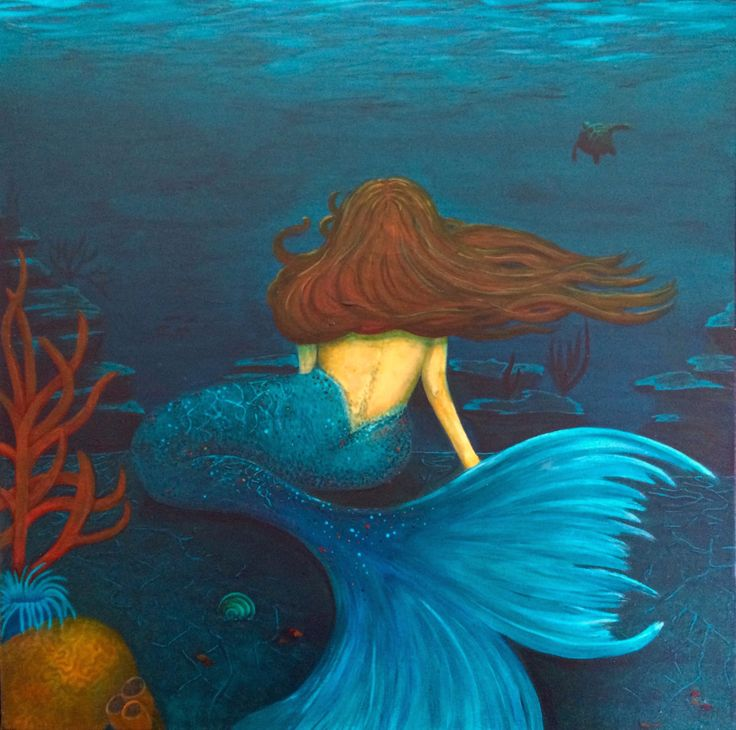 "Mermaid painting, Original art by Kim McLennan  ""Tranquility"" 24 x24 Acrylic on Canvas"