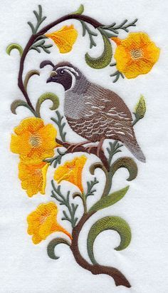 quail and poppies outline design - Google Search