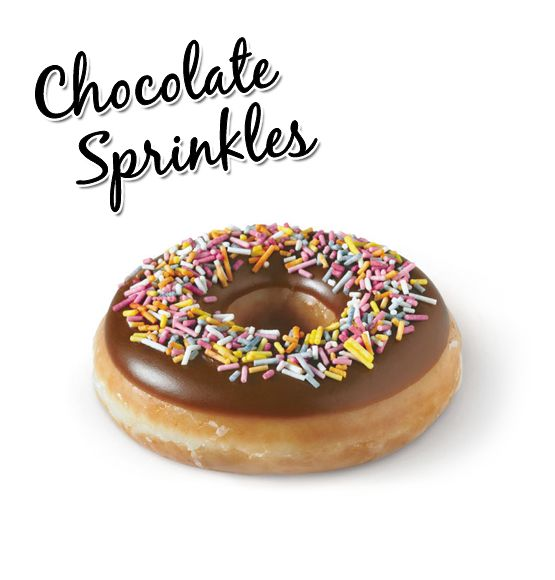 Krispy Kreme // Chocolate Sprinkles - Our signature ring doughnut hand-dipped in chocolate icing and colourful sprinkles.