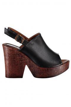 Pembe Potin Siyah Kadın Topuklu Ayakkabı