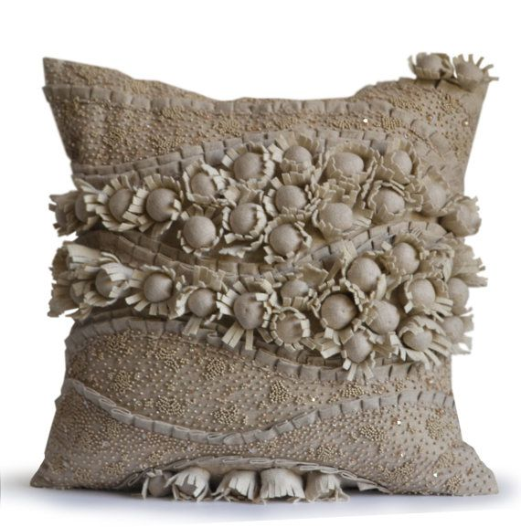 linen pillow cover designer pillow case flower pillows beaded throw pillow cushion cover wedding anniversary gift mothers day gift