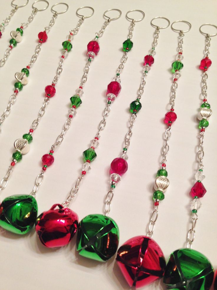 Christmas Bell Shower Curtain Decoration. Perfect For The Holiday Season.  12 Strands, 8 Inches Long. Red Green Glass And Silver