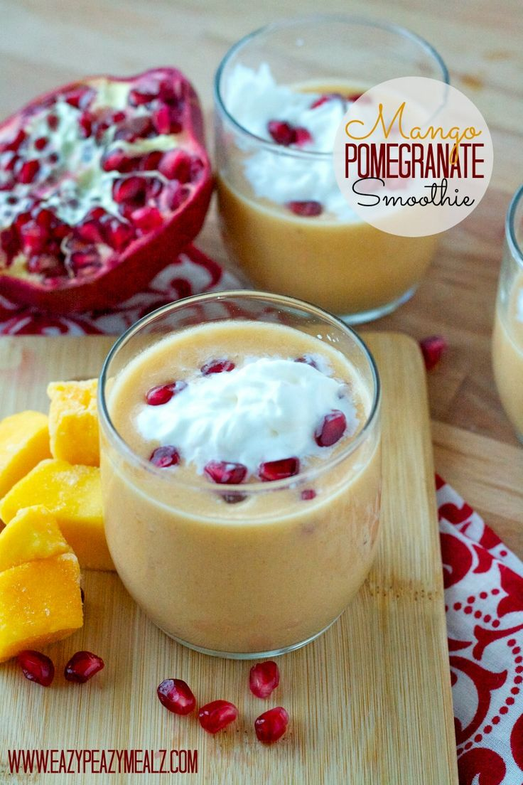 Mango Pomegranate Smoothie: an awesome combination for flavor and super easy to make! Plus a video about amping up your smoothie making.  - Eazy Peazy Mealz